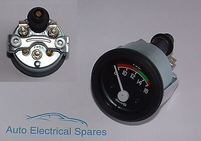 "CLASSIC CAR 12v 2"" 52mm 8-16 voltmeter gauge ILLUMINATED"