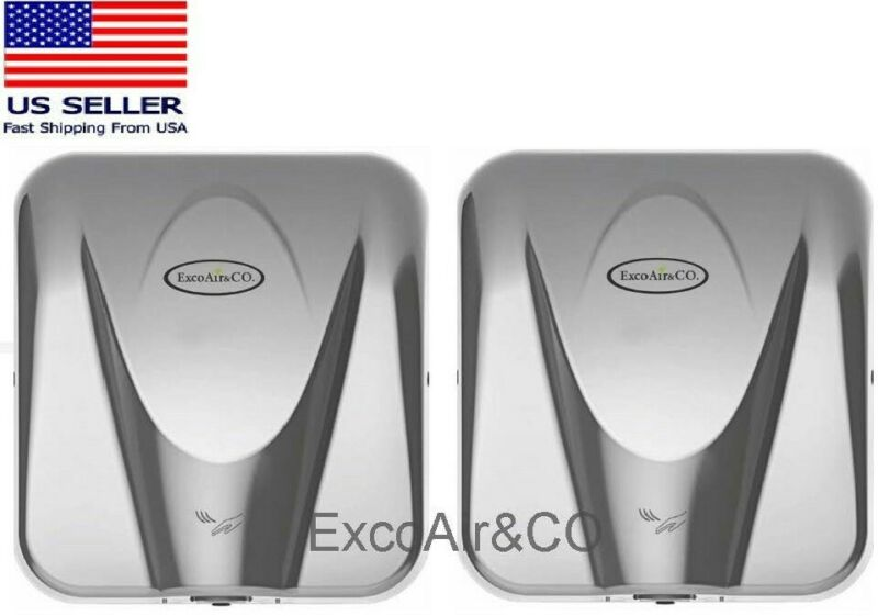 ExcoAir High Speed Commercial Hand Dryer, Polished Stainless Cover ( pkg 2 )