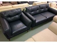 DFS Axel 2 seater Armchair Footstool 3 piece suite blue leather