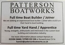 Boat builder / Joiner and Yard hand / labourer