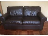 Ikea Brown Leather 2 seater settee. Hardly used.