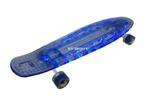 LED Skateboard - 4 Different Light Modes and Light Up Wheels - Blue & 22 Inch - Ship Across Canada