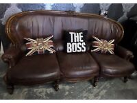 Chesterfield Brown Leather French Louis 3 Seater Sofa Shabby Chic Wood Frame UK Delivery