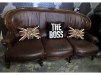 Chesterfield Brown Leather French Louis 3 Seater Sofa Shabby Chic UK Delivery