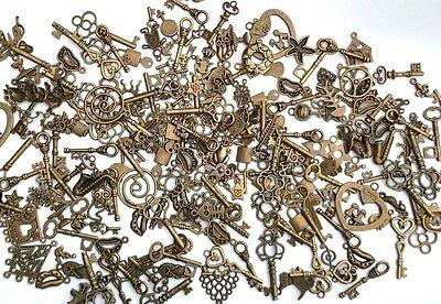 Bronze & Silver mixed charm assorted lot 60pcs tibetan Pendants Jewelry Making
