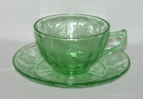 Jeannette Glass Co. FLORAL Poinsettia Green Cup and Saucer Set