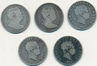 1816-1819 GREAT BRITAIN SILVER 1/2 CROWNS HALF CROWNS-5 COINS-FREE S/H! INV:2