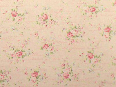 Cottage Shabby Chic Quilt Gate RURU Love Rose Love RU2300-15B Pink w/Script BTY