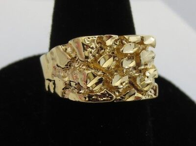 MENS 14 KT GOLD PLATED DESIGNER NUGGET #1 SQUARED OFF RING  SIZES 6-13 - Gold Plated Nugget