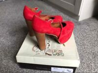 Jeffrey Campbell red suede Mary heel