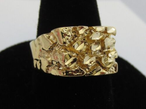 Ring - MENS 14 KT GOLD PLATED DESIGNER NUGGET #1 SQUARED OFF RING  SIZES 5-13