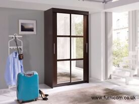 New Modern 2 Door Sliding Wardrobe with Mirror Hanging Rail 6 Shelves 120cm 3.9ft Free Delivery