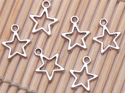 50/500 Pcs Tibetan Silver Crafts Stars Charms Pendants Jewelry Making Necklace