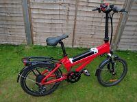 "RED 20"" drop handle bar electric bike."