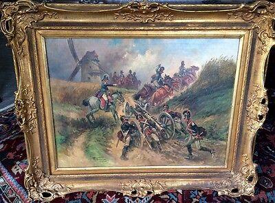 Neumann Fritz, Kanonade v. Valmy 1792 Schlachten- Gemälde Öl/Lwd. 105 x 87 cm