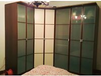 Walnut style wardrobes with frosted glass & cream doors