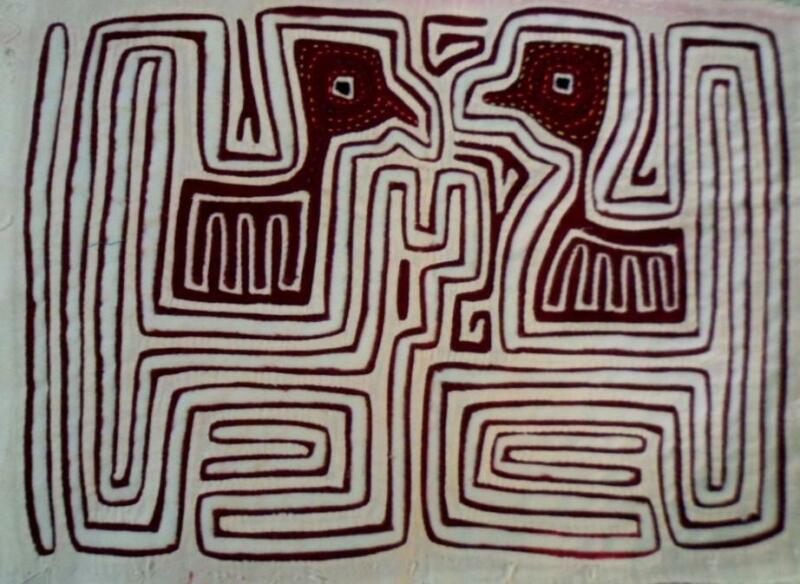 Kuna Indian Hand Sewn Gossip Bird Mola Panama Art 21052208L