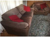 Beautiful Sofa + Chair (Brown leather/material)