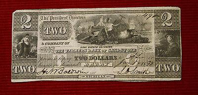 1838 $2 Farmers Bank of Sandstone - Michigan MI - Free Shipping