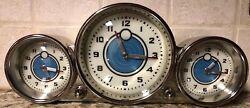 Pottery Barn Retro Aircraft Dashboard Time Zone Desk Clock 3 Chrome Clocks Illum