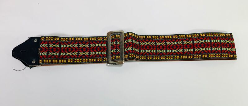 """Vintage Red Yellow & Green Dylan Bohemian Ace Style Adjustable 3"""" Guitar Strap"""