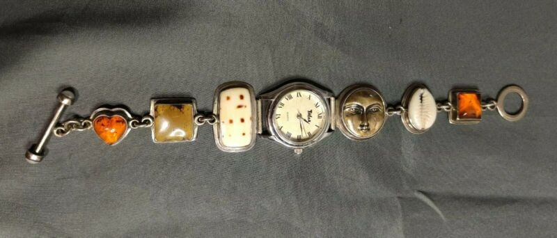 Tabra CHARM Bracelet WATCH Amber Moon Face Earth Goddess Signed One-of-a-Kind