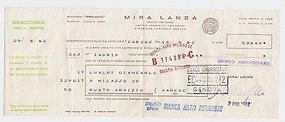 Cheque  Check Italy Banca Alto Milanese  Banco Ambrosiano Mira Lanza Genova 1962