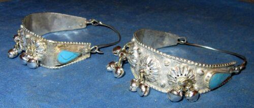 """Earrings Hoop Gemstone Afghan Kuchi Tribal Alpaca Silver 2 1/2"""""""