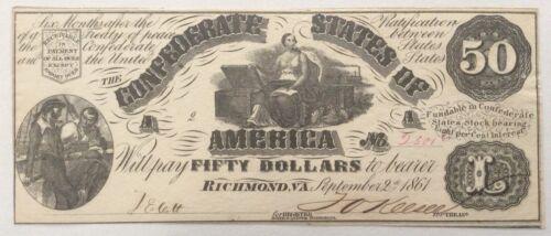 1861 Confederate T14 $50 Note - Clean, Beautiful, AU/Unc.