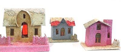 "Vintage Cardboard Putz Christmas Houses Mica Glitter Japan USA 3"" - 4"" Lot of 3"