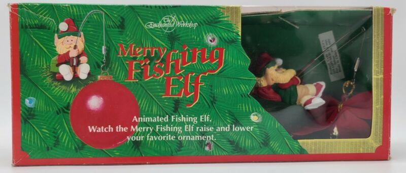 "1992 ""MERRY FISHING ELF"" The Enchanted Workshop Raises & Lowers Ornament VINTAGE"