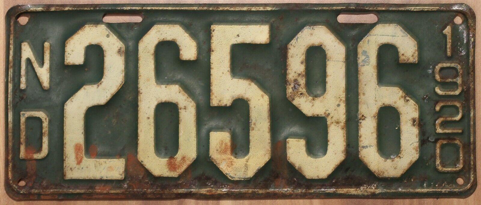 Original Vintage Nummernschild License Plate USA North Dakota 1920 Plaque Targa