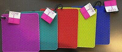 "Set Of 5 NEW Core Kitchen Silicone Square Trivet Heat Resistant, Multicolor, 7"""