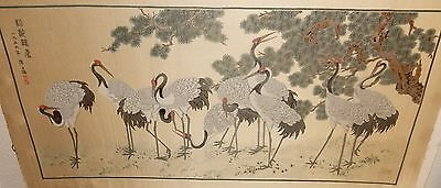JAPANESE CRANES BLOSSOMS SILK EMBOSSED EMBROIDERED TAPESTRY PAINTING SIGNED