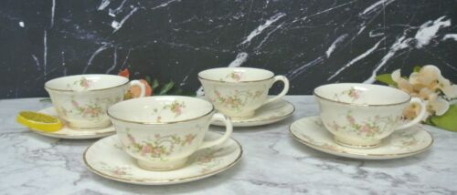 """Set 4 Of Vintage Pink Roses Pope Gosser Cups and Saucers """"Jean """"Pattern"""