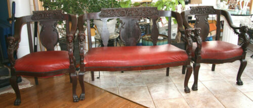 Antique Furniture Love Seat and Two Chairs