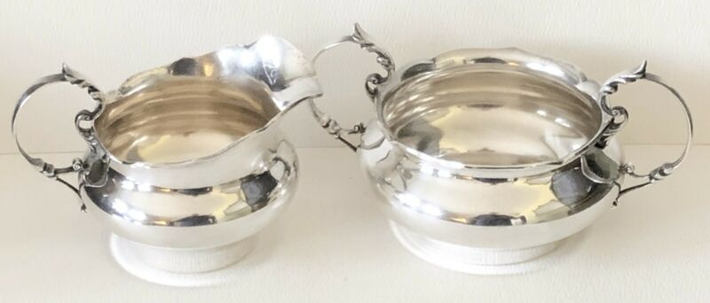 Antique SIMONS BROS STERLING Silver Tea Set CREAMER & SUGAR BOWL Chippendale