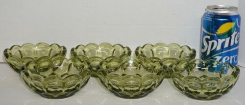 Vintage Set 6 Imperial Glass Provincial Thumbprint Green Berry Dessert Bowls