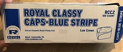 95 Royal Blue Stripe Classy White Chefs Capshats Rcc2 New In Opened Box