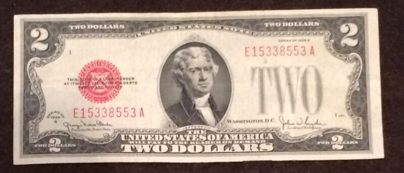 1928 Two Dollar Bill Red Seal Note Randomly Hand Picked VG / Fine FREE SHIPPING!
