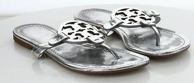 03-10 MSRP $198 Women's Size 8 M Tory Burch Miller Silver Leather Logo Sandal