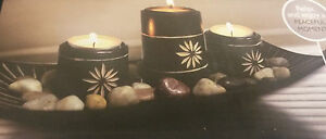 3 Candle Holder On Bamboo Tray With Stones 3 Tea Light Holder