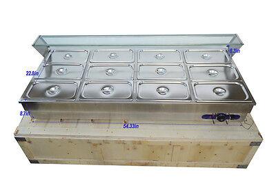 12 Pans 13 Pan Hot Well Bain-marie Buffet Food Warmer Steamer Table