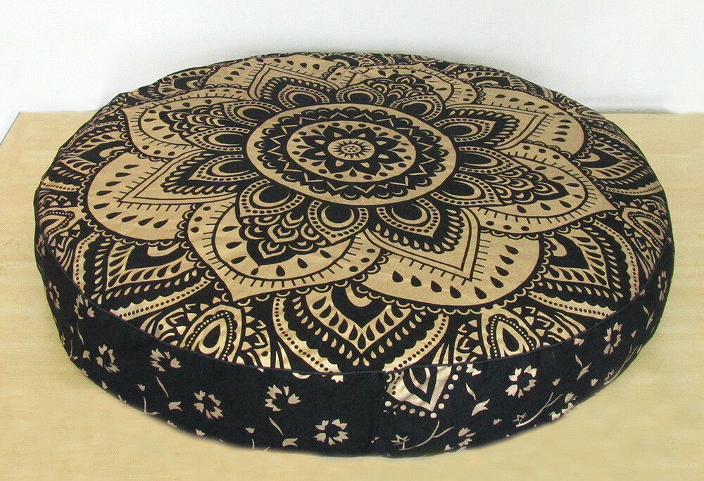 "35"" Round Floor Cushion Black Gold  Mandala Cotton Pouf Seat"