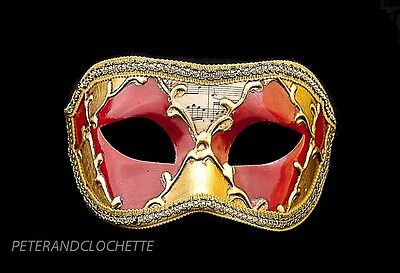 Mask Wolf of Venice Colombine Sinfonia Red Gold for Fancy Dress 794 V39B