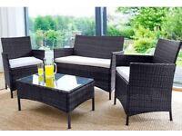 Bran New 4pc Piece BLACK Rattan Garden Patio Furniture Set Outdoor Sofa Glass Table Chair