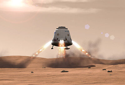 SpaceX Red Dragon On Mars - Space Poster Print - Graphic Render - Planet Image ()