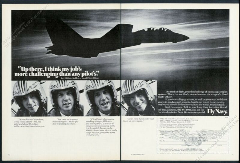1975 US Navy pilot plane photo recruiting recruitment vintage print ad