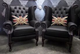 NEW Chesterfield Pair of Queen Anne Wing Back Chairs Matt Black Leather - UK Delivery
