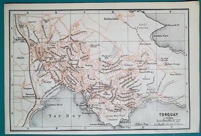 1897 BAEDEKER MAP - ENGLAND Torquay & Plymouth City Plan